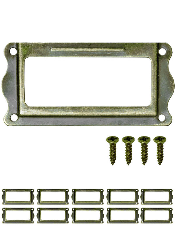 FUXXER® - 10x Etiketten-Fenster Antik Design | Messing Bronze Antik Optik | 64 x 32 mm, 10er Set